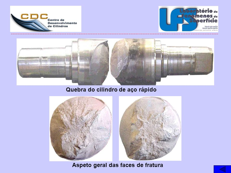 Quebra do cilindro de aço rápido