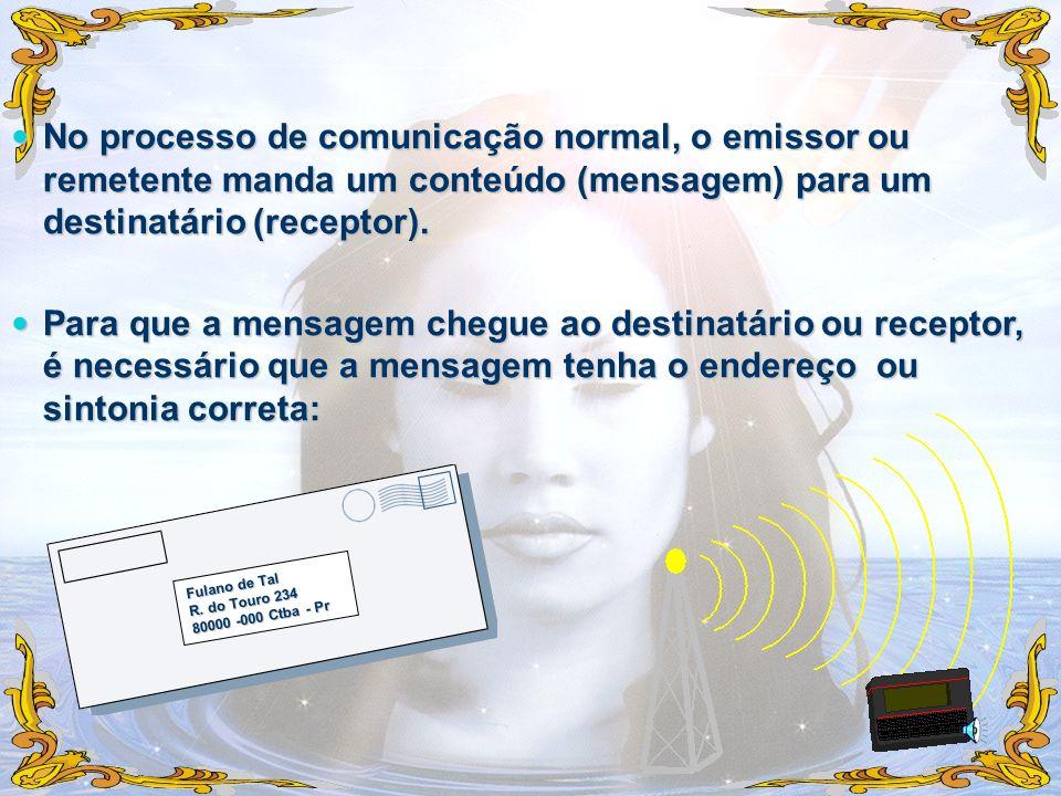 No processo de comunicação normal, o emissor ou remetente manda um conteúdo (mensagem) para um destinatário (receptor).