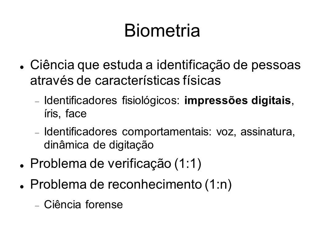 Biometria Ciência que estuda a identificação de pessoas através de características físicas.