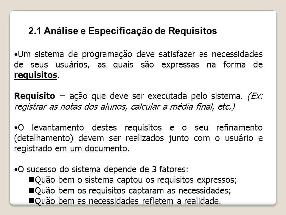 2.1 Análise e Especificação de Requisitos