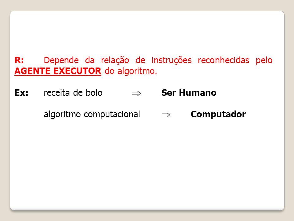 R: Depende da relação de instruções reconhecidas pelo AGENTE EXECUTOR do algoritmo.