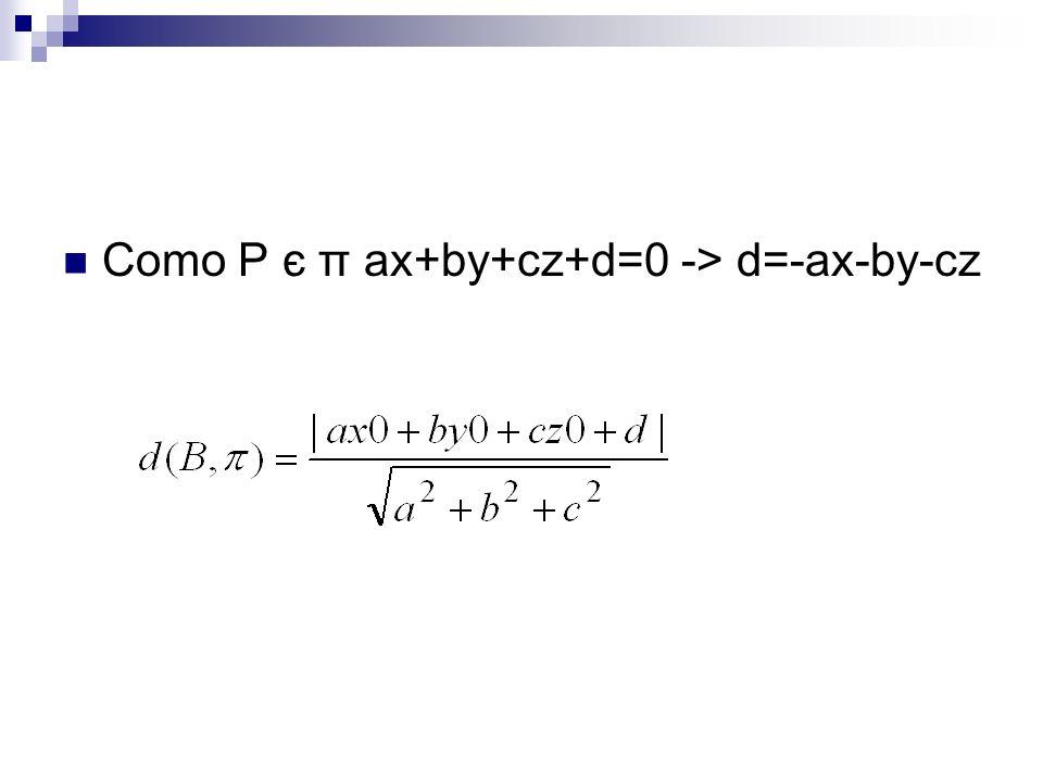 Como P є π ax+by+cz+d=0 -> d=-ax-by-cz