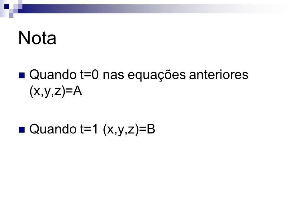 Nota Quando t=0 nas equações anteriores (x,y,z)=A Quando t=1 (x,y,z)=B