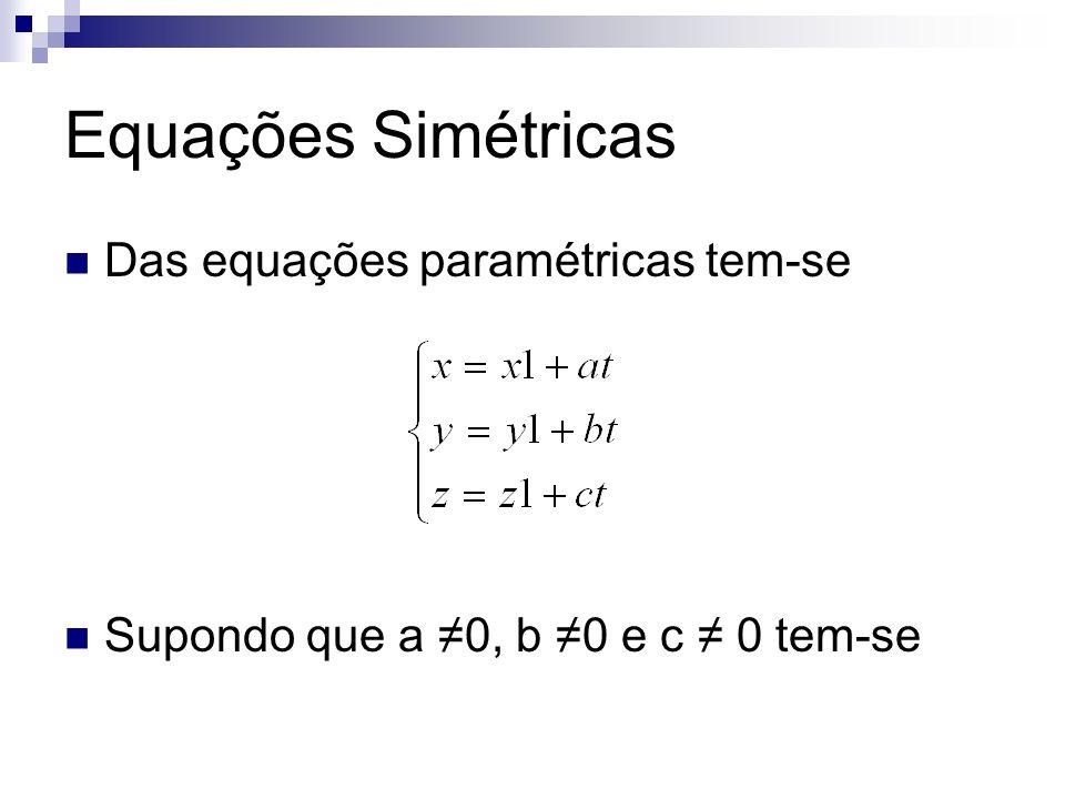 Equações Simétricas Das equações paramétricas tem-se