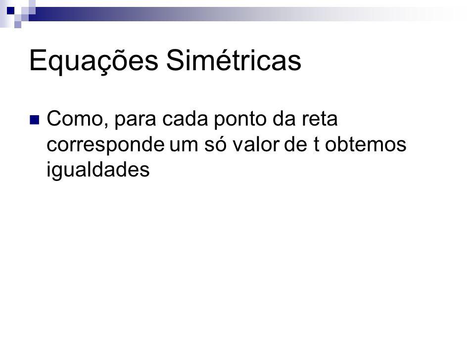 Equações Simétricas Como, para cada ponto da reta corresponde um só valor de t obtemos igualdades