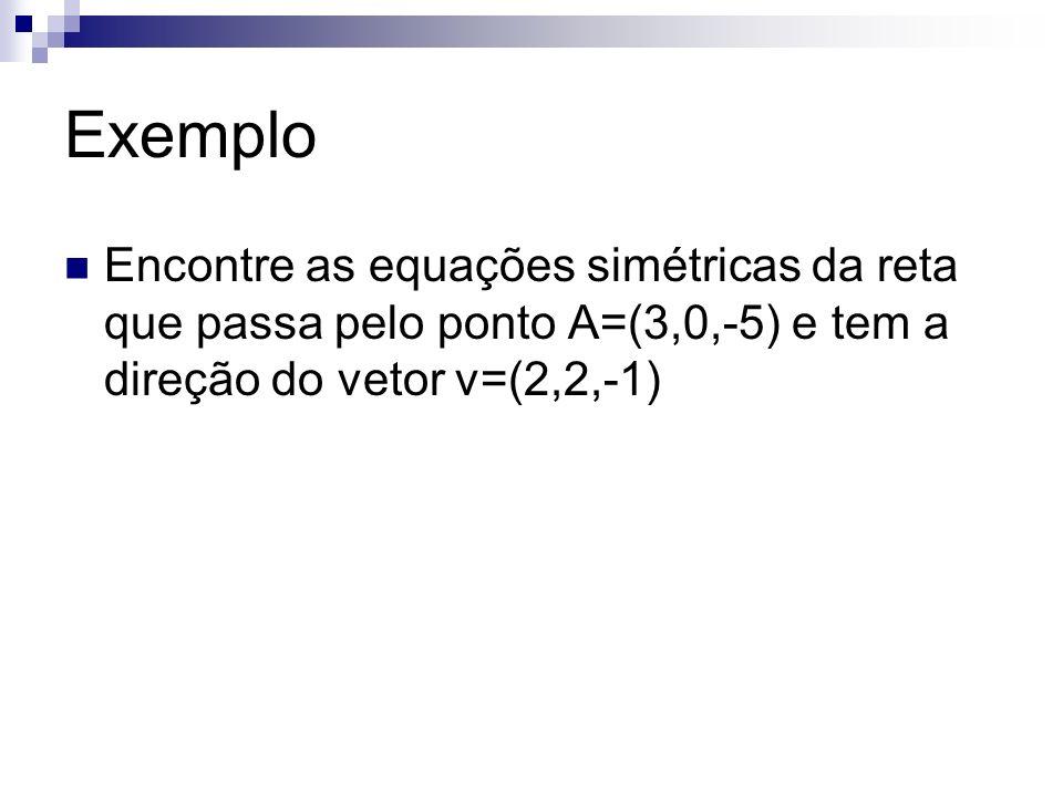 Exemplo Encontre as equações simétricas da reta que passa pelo ponto A=(3,0,-5) e tem a direção do vetor v=(2,2,-1)