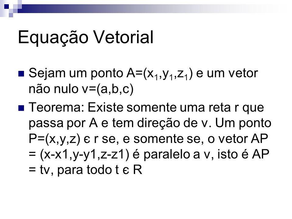 Equação Vetorial Sejam um ponto A=(x1,y1,z1) e um vetor não nulo v=(a,b,c)