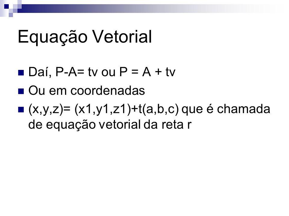 Equação Vetorial Daí, P-A= tv ou P = A + tv Ou em coordenadas