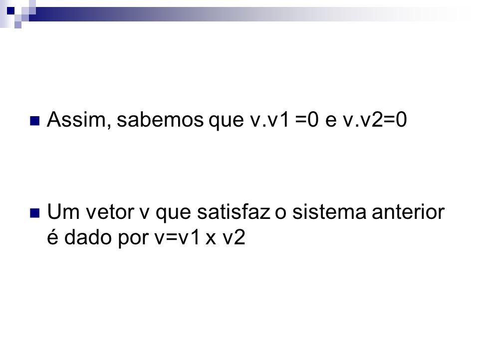 Assim, sabemos que v.v1 =0 e v.v2=0