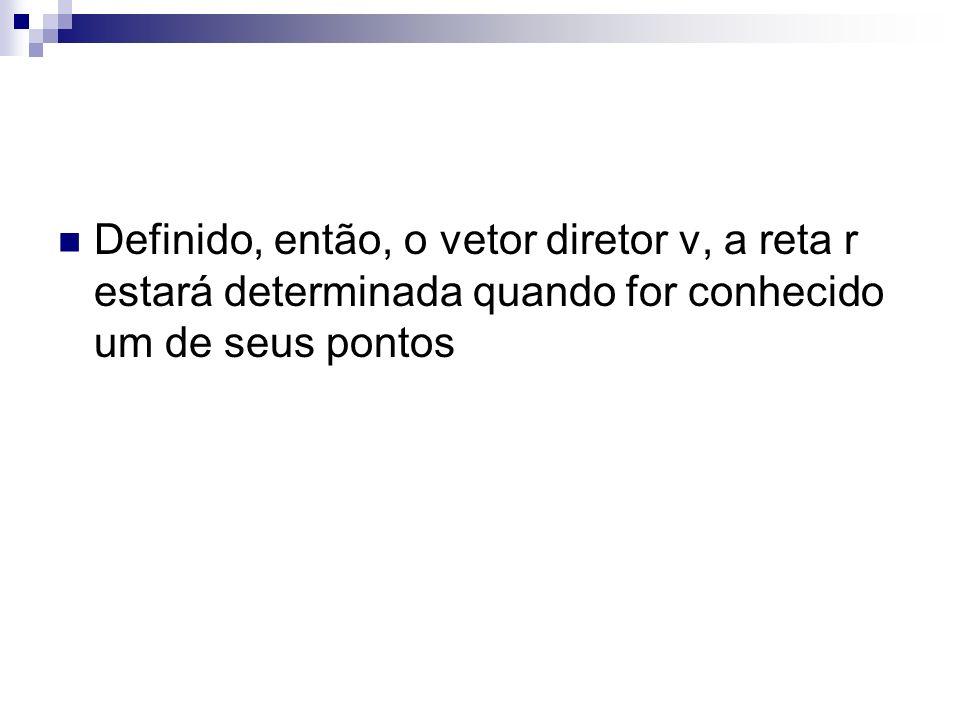 Definido, então, o vetor diretor v, a reta r estará determinada quando for conhecido um de seus pontos