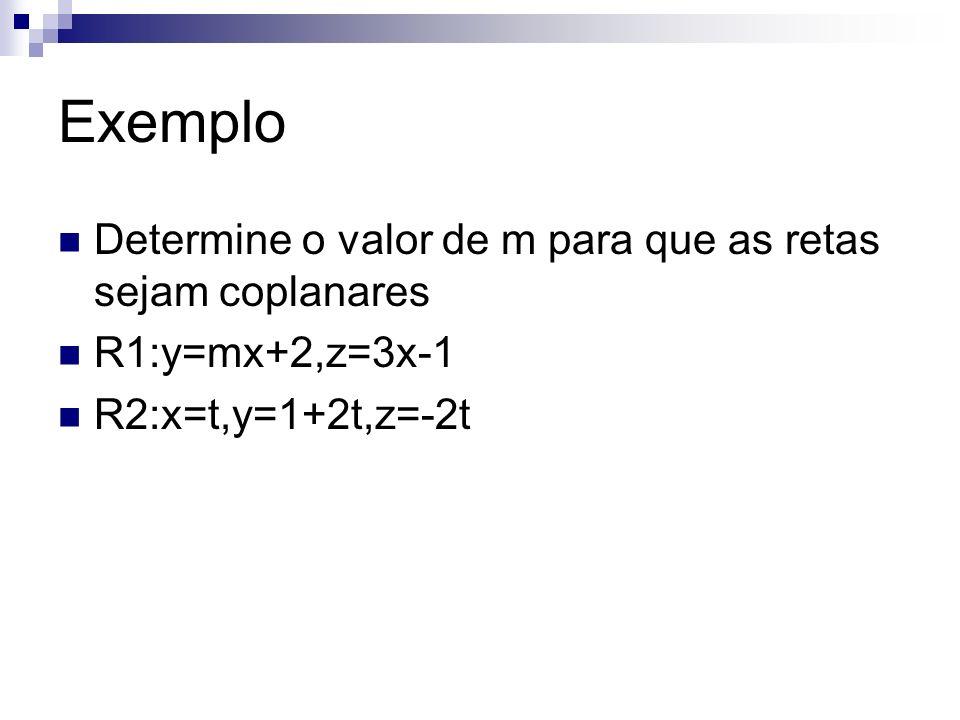 Exemplo Determine o valor de m para que as retas sejam coplanares