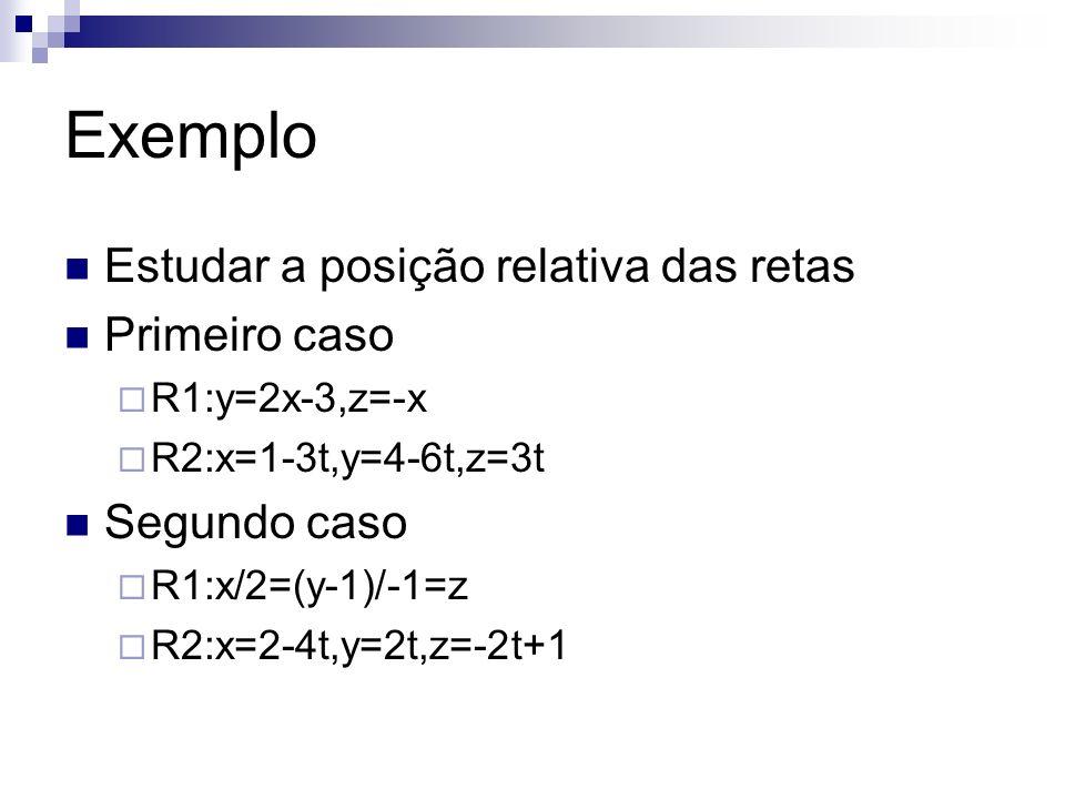 Exemplo Estudar a posição relativa das retas Primeiro caso