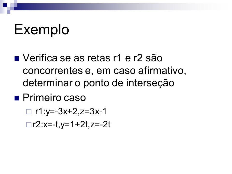 Exemplo Verifica se as retas r1 e r2 são concorrentes e, em caso afirmativo, determinar o ponto de interseção.