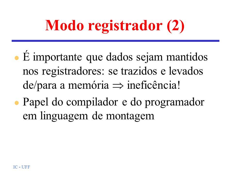 Modo registrador (2)É importante que dados sejam mantidos nos registradores: se trazidos e levados de/para a memória  ineficência!