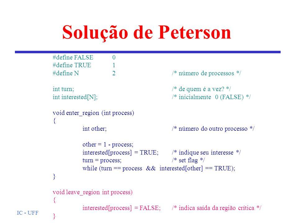Solução de Peterson #define FALSE 0 #define TRUE 1