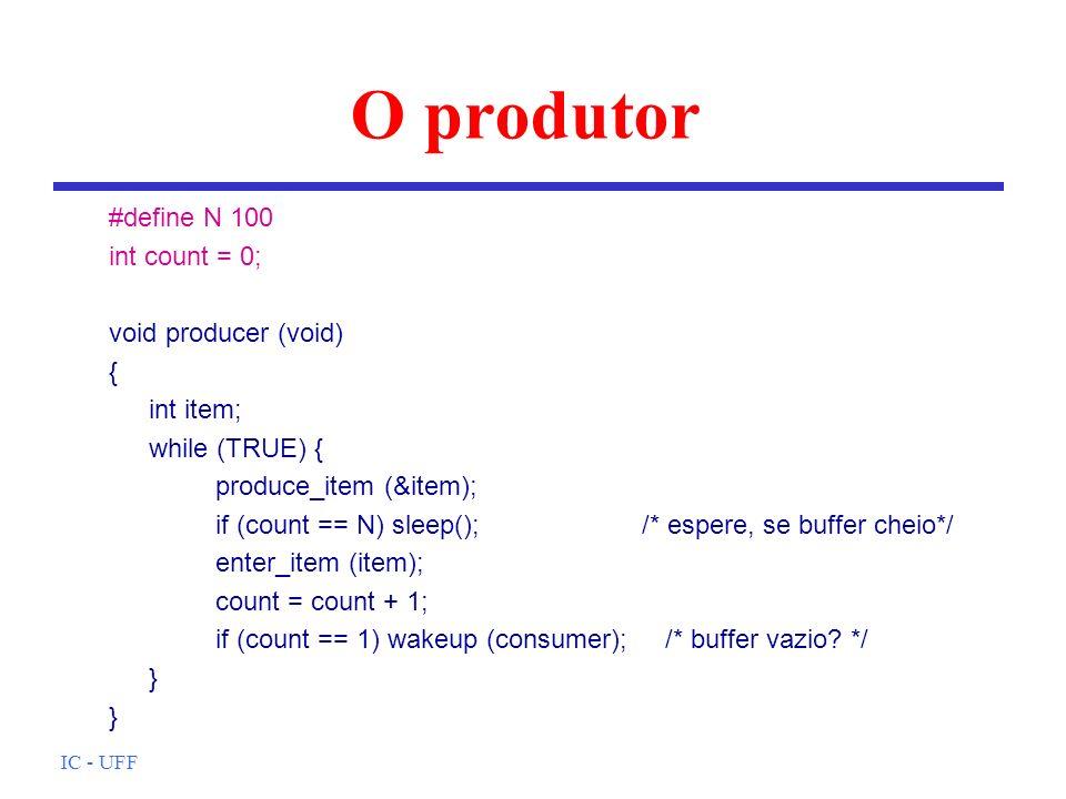 O produtor #define N 100 int count = 0; void producer (void) {