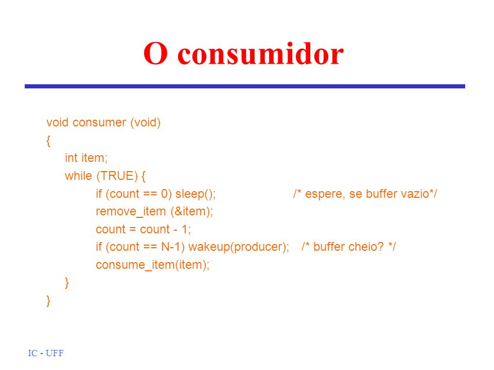 O consumidor void consumer (void) { int item; while (TRUE) {