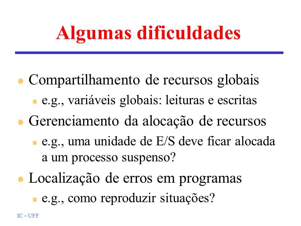 Algumas dificuldades Compartilhamento de recursos globais