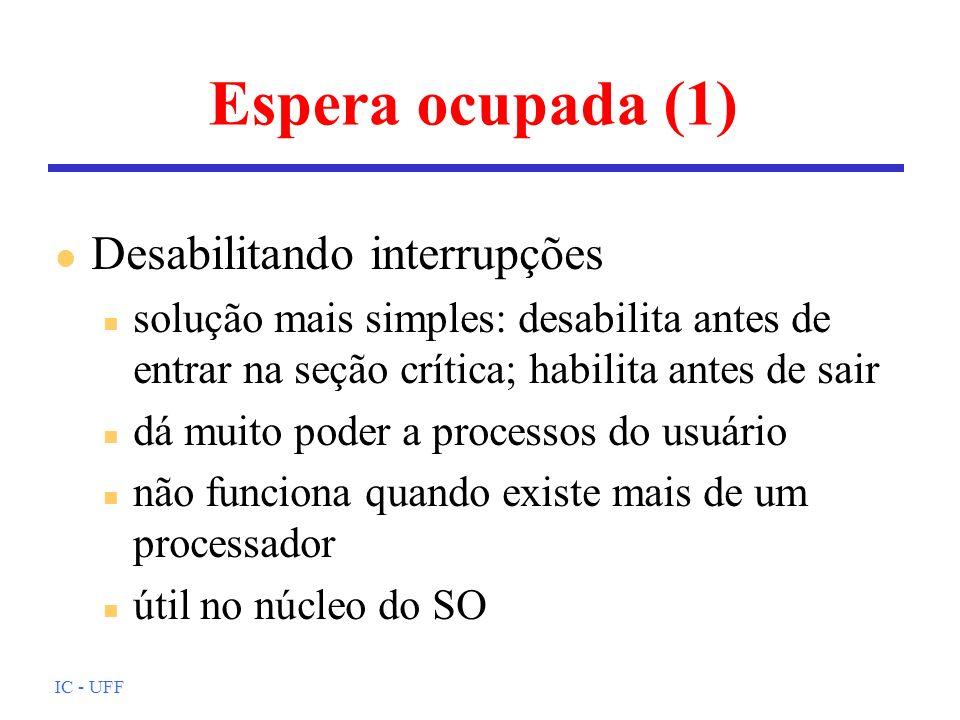 Espera ocupada (1) Desabilitando interrupções