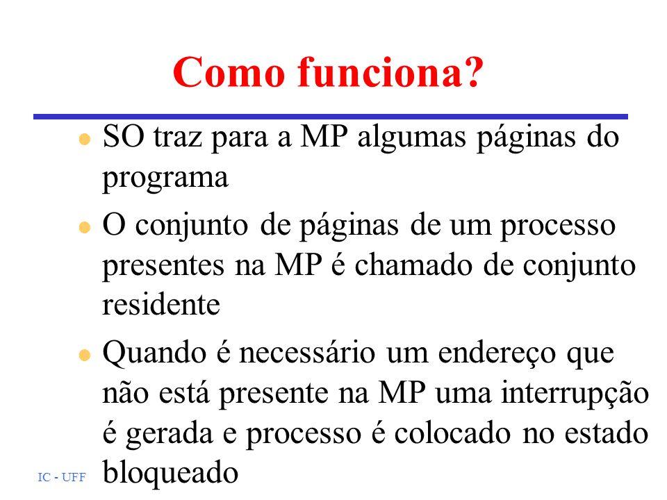 Como funciona SO traz para a MP algumas páginas do programa