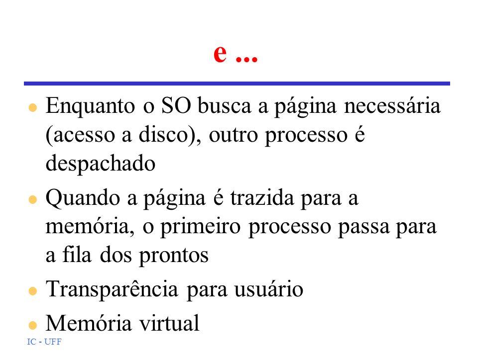 e ... Enquanto o SO busca a página necessária (acesso a disco), outro processo é despachado.