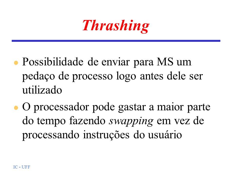 Thrashing Possibilidade de enviar para MS um pedaço de processo logo antes dele ser utilizado.