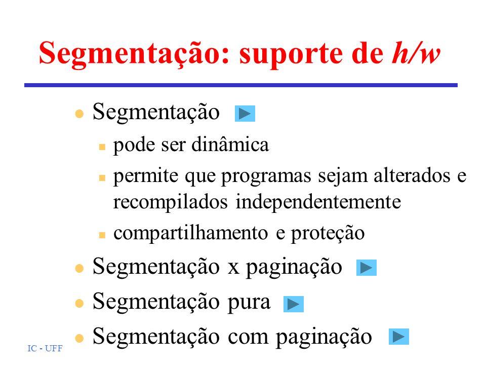 Segmentação: suporte de h/w