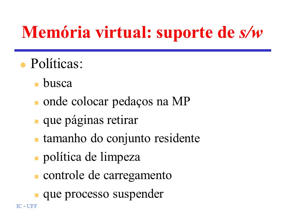 Memória virtual: suporte de s/w
