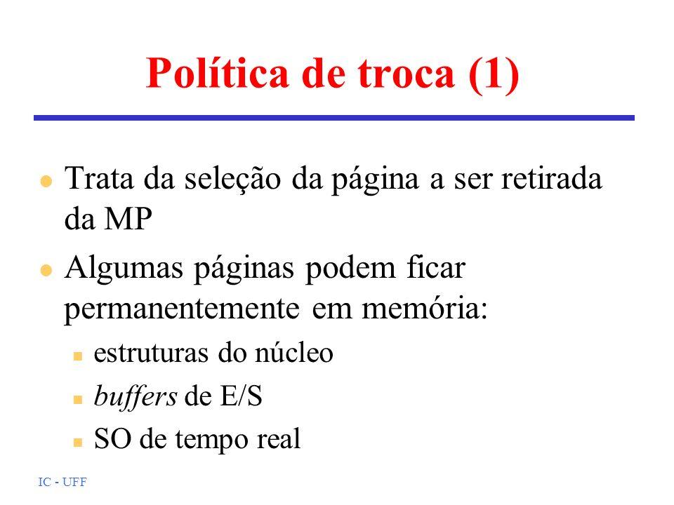 Política de troca (1) Trata da seleção da página a ser retirada da MP