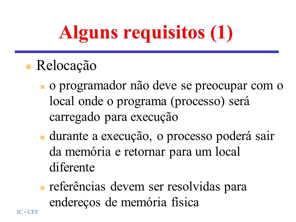 Alguns requisitos (1) Relocação