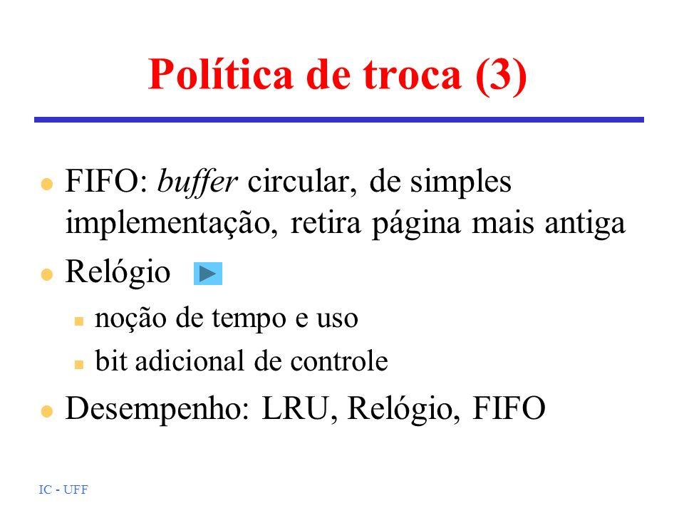 Política de troca (3) FIFO: buffer circular, de simples implementação, retira página mais antiga. Relógio.