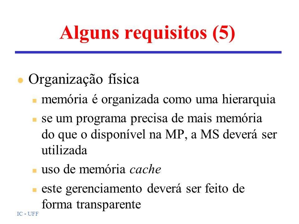 Alguns requisitos (5) Organização física
