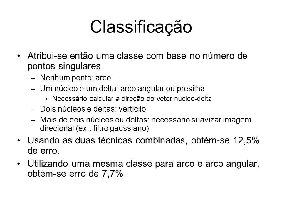 Classificação Atribui-se então uma classe com base no número de pontos singulares. Nenhum ponto: arco.