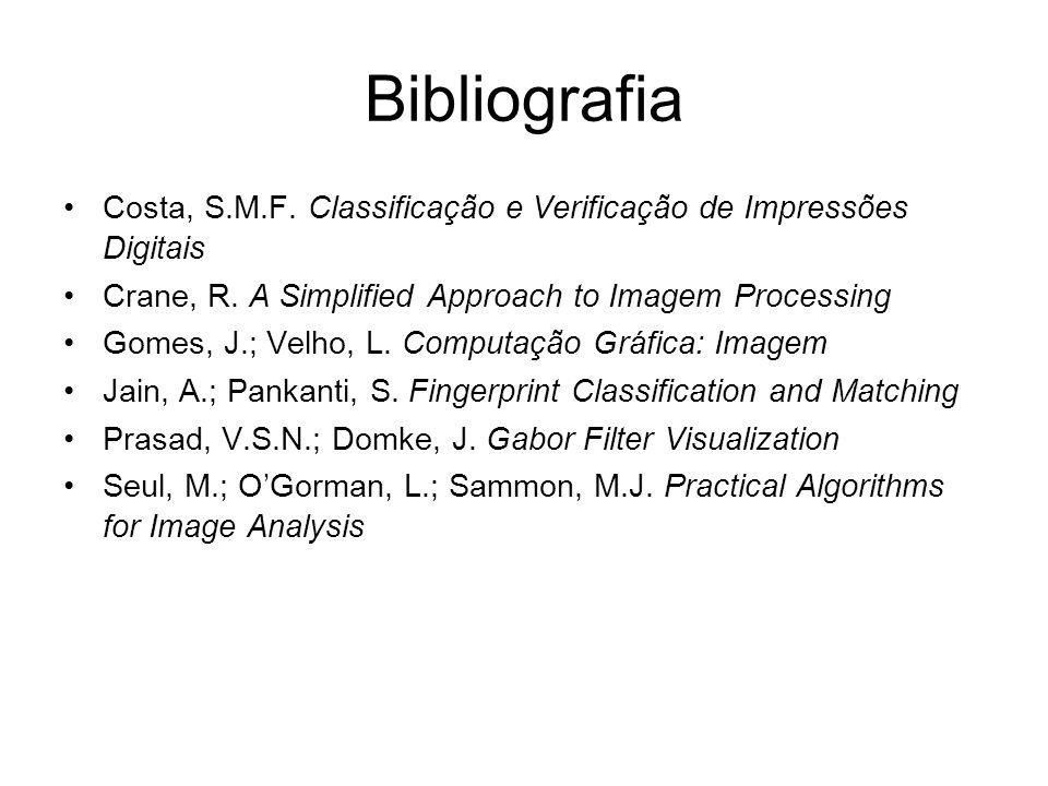 Bibliografia Costa, S.M.F. Classificação e Verificação de Impressões Digitais. Crane, R. A Simplified Approach to Imagem Processing.