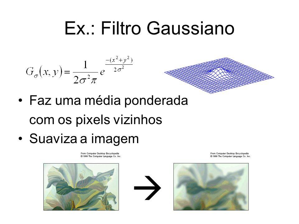  Ex.: Filtro Gaussiano Faz uma média ponderada com os pixels vizinhos