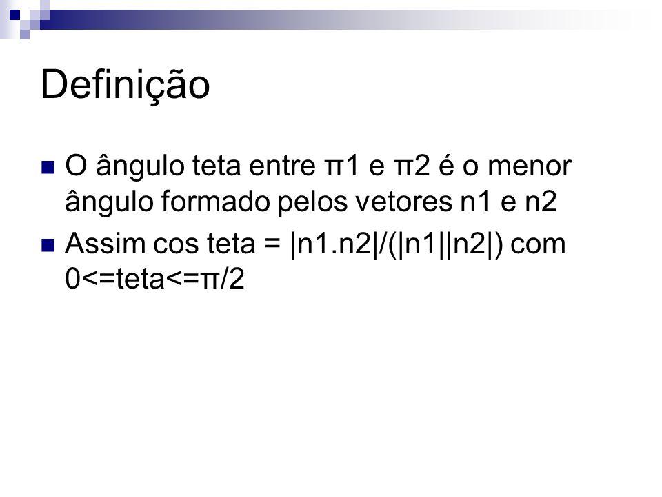 Definição O ângulo teta entre π1 e π2 é o menor ângulo formado pelos vetores n1 e n2.