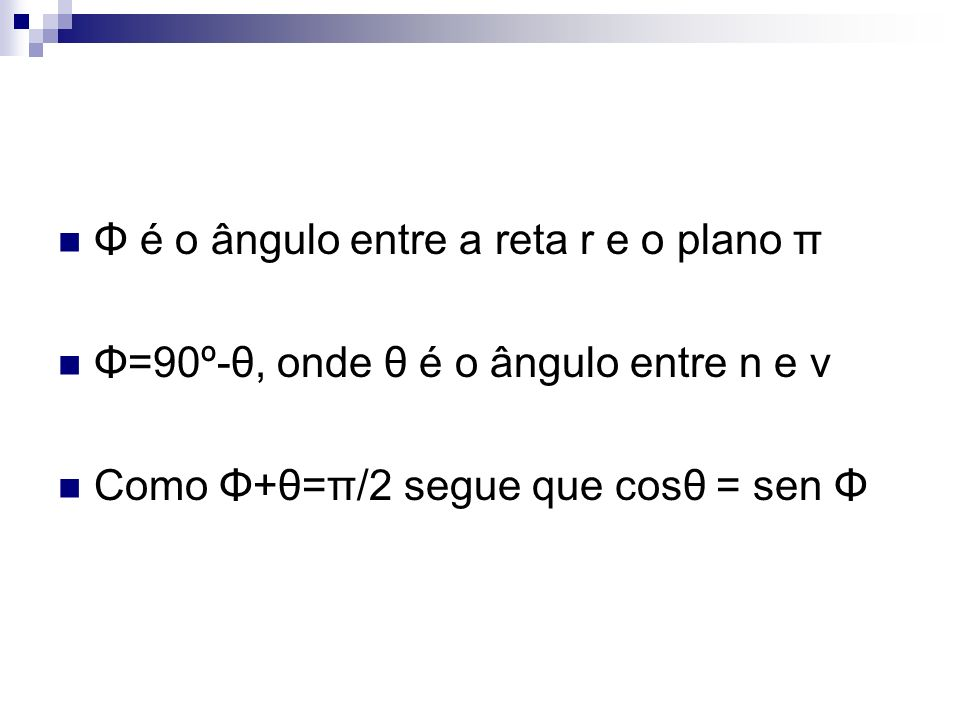 Φ é o ângulo entre a reta r e o plano π