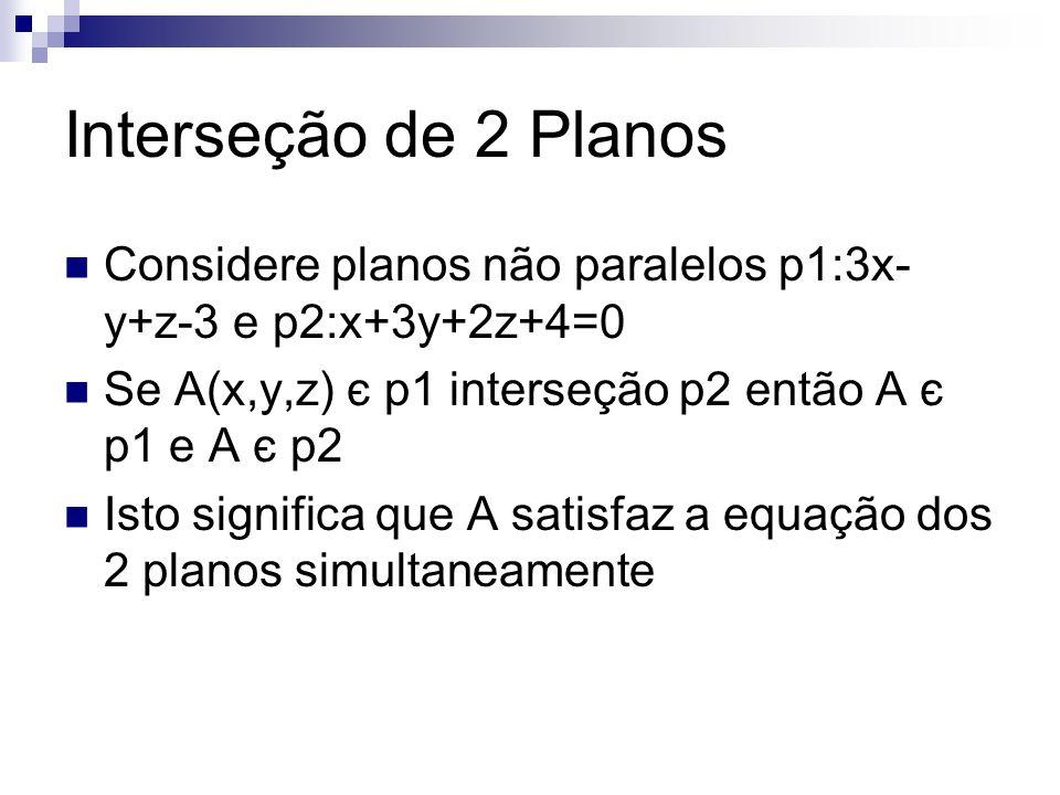 Interseção de 2 Planos Considere planos não paralelos p1:3x-y+z-3 e p2:x+3y+2z+4=0. Se A(x,y,z) є p1 interseção p2 então A є p1 e A є p2.