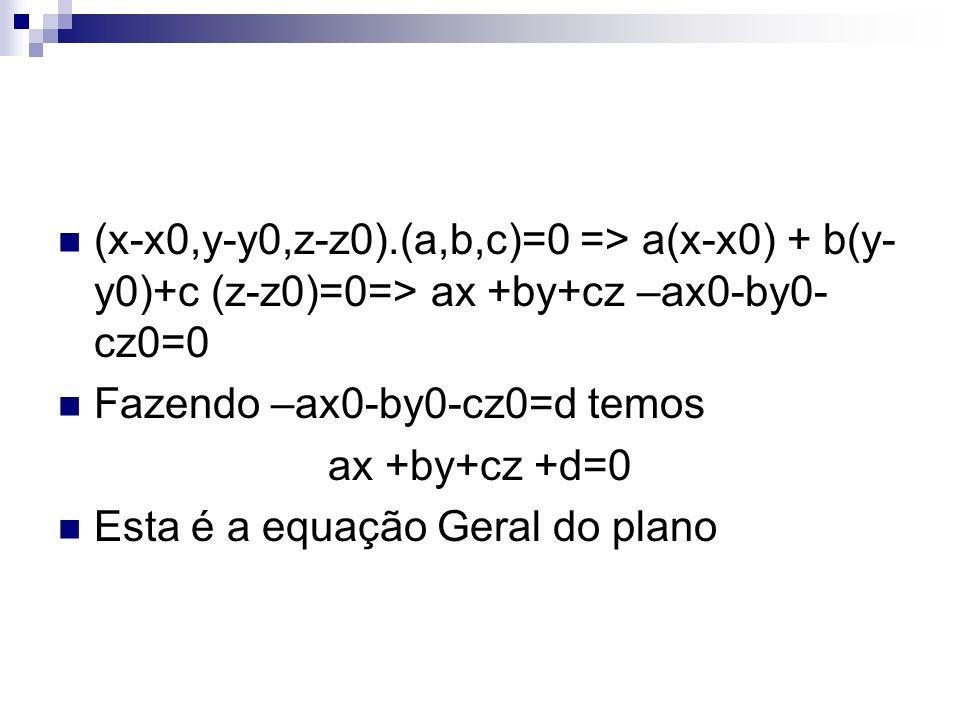 (x-x0,y-y0,z-z0).(a,b,c)=0 => a(x-x0) + b(y-y0)+c (z-z0)=0=> ax +by+cz –ax0-by0-cz0=0