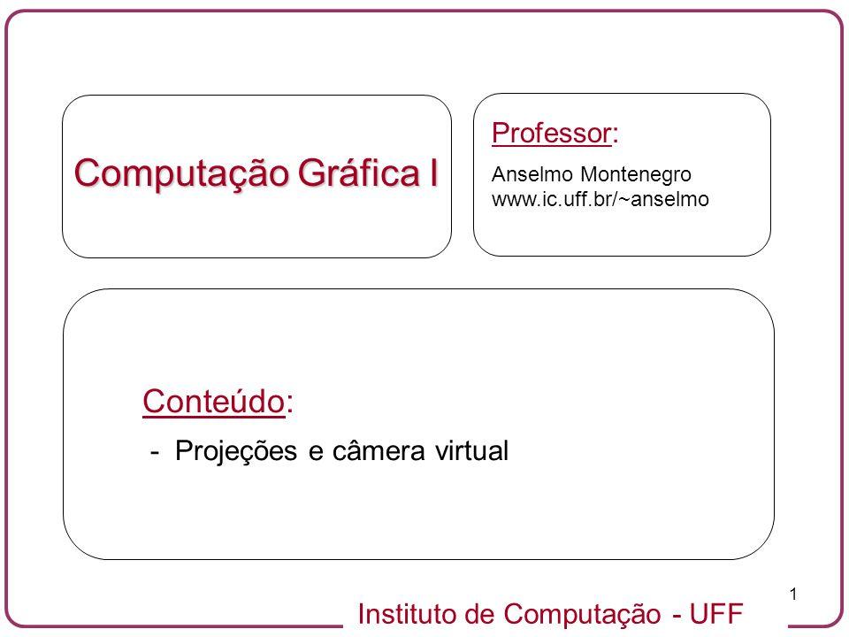 Computação Gráfica I Conteúdo: Professor: - Projeções e câmera virtual