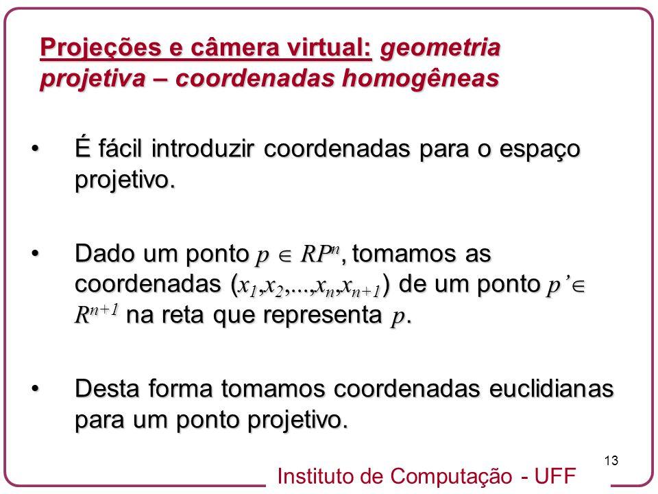 Projeções e câmera virtual: geometria projetiva – coordenadas homogêneas