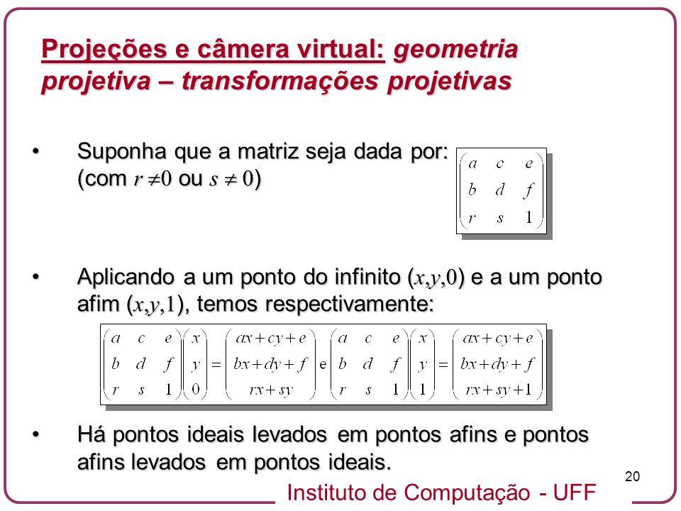 Projeções e câmera virtual: geometria projetiva – transformações projetivas