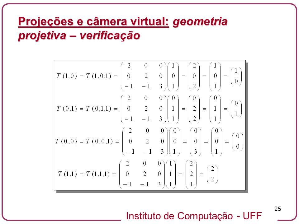 Projeções e câmera virtual: geometria projetiva – verificação