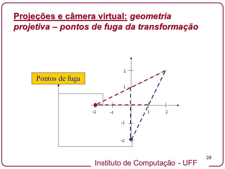 Projeções e câmera virtual: geometria projetiva – pontos de fuga da transformação