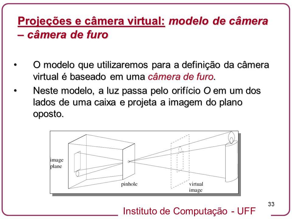 Projeções e câmera virtual: modelo de câmera – câmera de furo