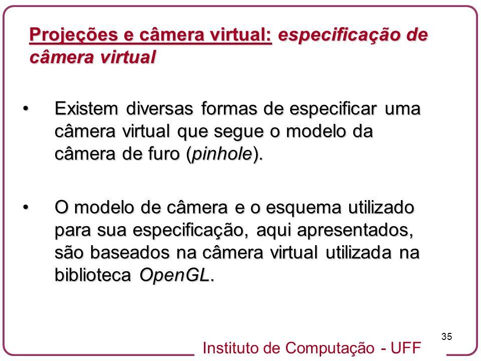 Projeções e câmera virtual: especificação de câmera virtual