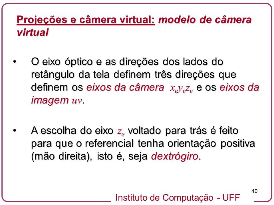 Projeções e câmera virtual: modelo de câmera virtual