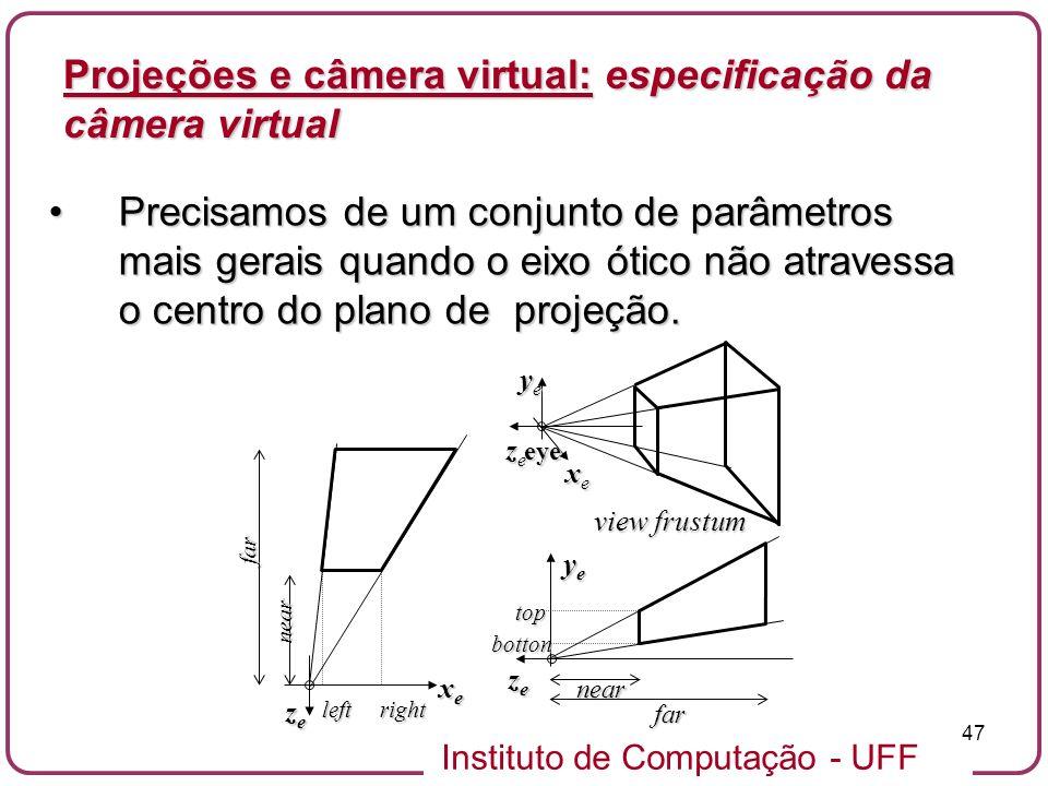 Projeções e câmera virtual: especificação da câmera virtual