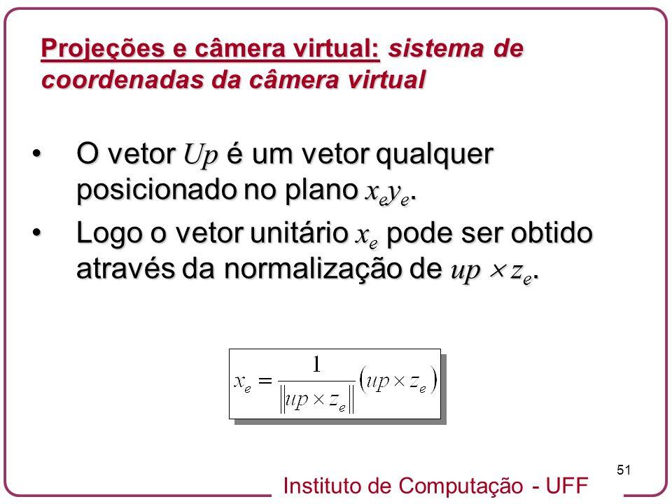 O vetor Up é um vetor qualquer posicionado no plano xeye.