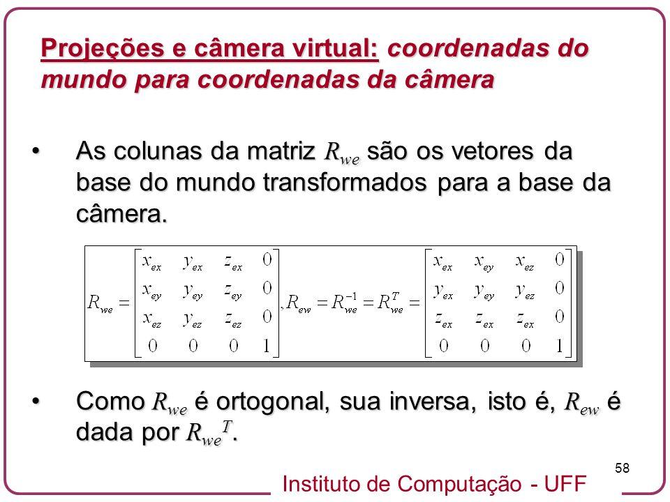 Projeções e câmera virtual: coordenadas do mundo para coordenadas da câmera